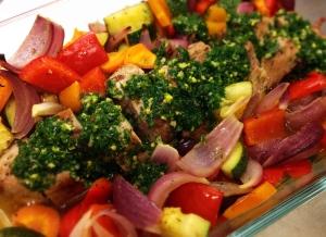 Gremolatafläskfilé med rostade grönsaker